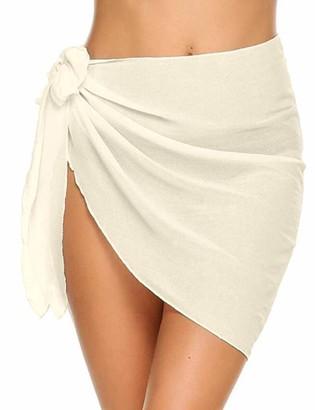 meilun Women's Beach Wrap Sarong Chiffon Swimsuit Cover Ups Skirts Swimwear Bikini Cover-ups - Beige - One Size