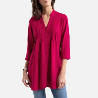 Anne Weyburn Straight Cut Draping Tunic with 3/4 Sleeves