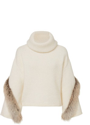 LAPOINTE Airy Wool Cashmere Cowl Neck Bell Sleeve Sweater With Fox Fu