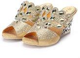Monie Women's Comfortable Wedding Dress Shoes Wedges for Bride 8B US
