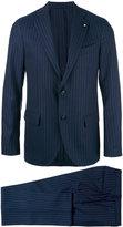 Lardini pinstripe suit - men - Cupro/Viscose/Wool - 48