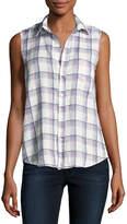 Frank And Eileen Fiona Sleeveless Button-Down Linen Shirt, White Pattern