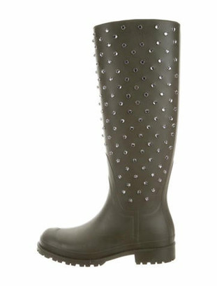 Saint Laurent Festival Rubber Embellished Rainboots Olive