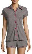 Cosabella Bella Stripe-Print Boxer Shorts Pajama Sets, Black/Deep Ruby