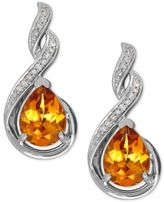 Macy's Citrine (1-9/10 ct. t.w.) and Diamond Accent Drop Earrings in Sterling Silver