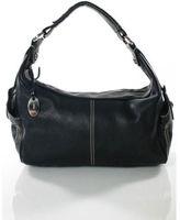 Tod's Black Pebbled Leather Silver Tone Stitched Trim Hobo Shoulder Handbag