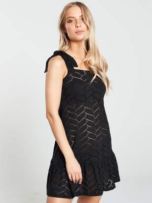 Very Swimwear Jersey Cut Out Mini Shoulder Dress - Black
