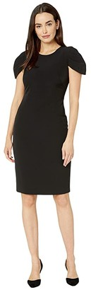 Vince Camuto Laguna Crepe Bodycon w/ Short Novelty Sleeve (Black) Women's Dress
