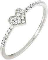 Bony Levy 18K White Gold Pave Diamond Heart Ring - 0.12 ctw