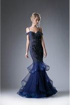 Unique Vintage Navy Blue Off The Shoulder Prom Dress With Mermaid Skirt