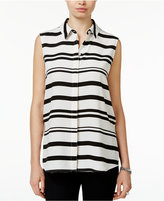 Bar III Striped Sleeveless Shirt, Only at Macy's