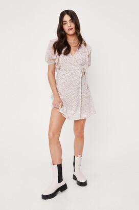 Nasty Gal Womens Ditsy Floral Print Wrap Mini Dress - White - 10