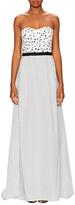 Oscar de la Renta Strapless Sweetheart Neck Watteau Back Gown