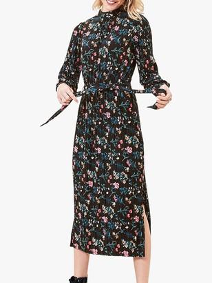 Oasis Floral Pleated Midi Dress, Multi/Black