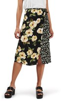 Topshop Women's 'Busy Garden' Floral Print Wrap Midi Skirt