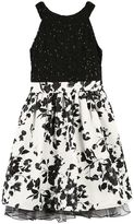 Speechless Girls 7-16 Sequin Lace Floral Print Fit & Flare Dress