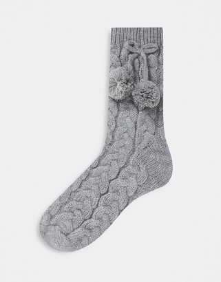 ASOS DESIGN lounge sock with pom in grey