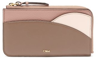 Chloé Walden Colour-blocked Zipped Leather Cardholder - Pink Multi