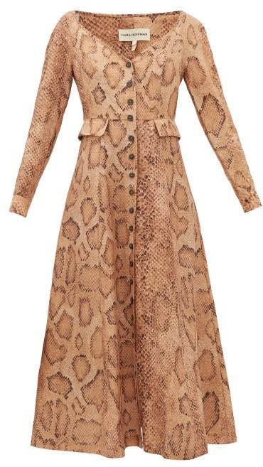 Mara Hoffman Silvana Snake-print Tencel-blend Shirt Dress - Cream Print