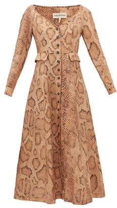 Mara Hoffman Silvana Snake-print Tencel-blend Shirtdress - Womens - Cream Print