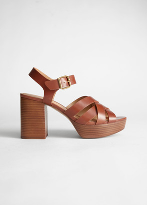 And other stories Leather Platform Heeled Sandals