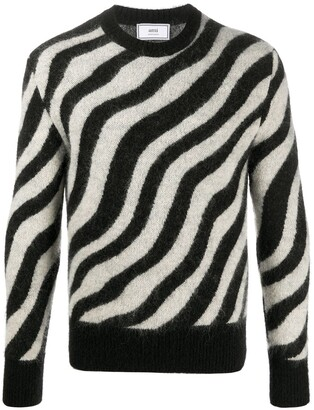 Ami Zebra Striped Crewneck Jumper