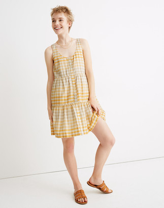 Madewell Button-Front Tiered Mini Dress