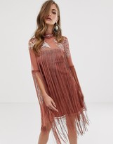 Asos Design DESIGN mini dress with embroidery and fringe