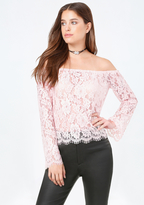 Bebe Jazzy Lace Shoulder Top