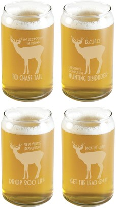 Susquehanna Glass Hunting Theme Beer Can Glass (Set of 4) 16 oz