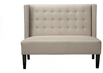 Canora Grey Adames Nailhead Trim Button Tufted Back Upholstered Bench Canora Grey