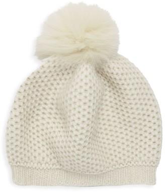 Portolano Fox Fur Pom-Pom Cashmere Mushroom Hat