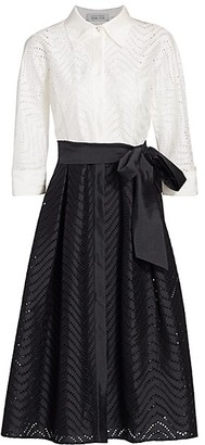 Teri Jon by Rickie Freeman Two-Tone Lace-Eyelet Belted A-Line Shirtdress