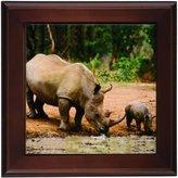 3dRose ft_1053_1 Rhino, Rhinoceros Framed Tile, 8 by 8-Inch