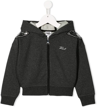 Karl Lagerfeld Paris Embellished Hooded Jacket