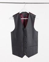 Asos Design DESIGN wedding skinny wool mix suit waistcoat in charcoal herringbone