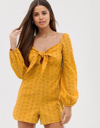 Asos DESIGN broderie playsuit with knot front