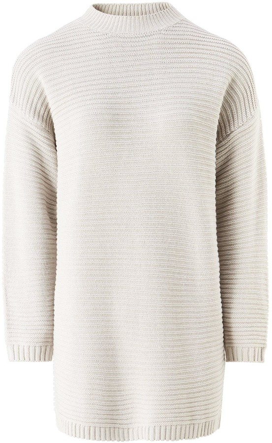 Missguided High Neck Ribbed Dress - Grey