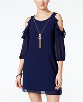 Amy Byer Juniors' Off-The-Shoulder Necklace Shift Dress