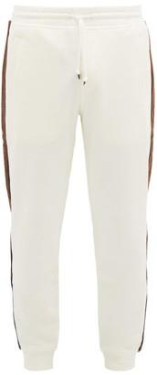 Brunello Cucinelli Corduroy Side-striped Cotton-jersey Track Pants - Mens - Cream