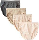 Ellen Tracy Women's 4 Pack Jacquard Dot Hi Cut Panty