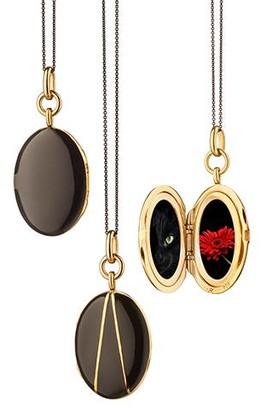 Monica Rich Kosann Black Enamel Gold Vermeil Oval Locket