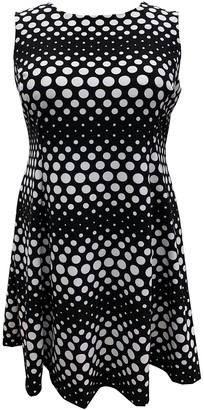 Sandra Darren Sleeveless Polka Dot Fit & Flare Dress (Plus Size)