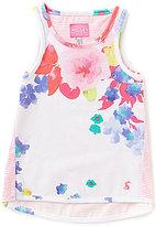 Joules Little Girls 3-6 Iris Floral-Print Striped High-Low Tank Top