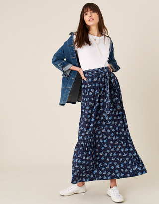 Monsoon Floss Printed Maxi Skirt with Organic Cotton Blue