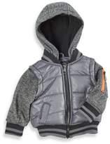 Urban Republic Mixed Media Vested Coat in Grey