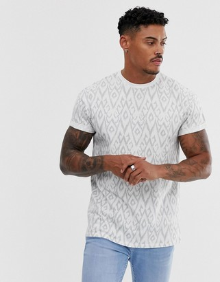 New Look t-shirt with diamond print in white-Blue