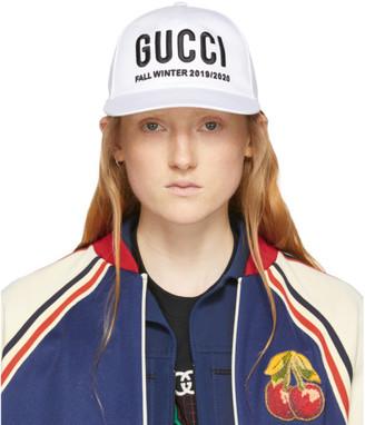 Gucci White Logo Embroidery Baseball Cap