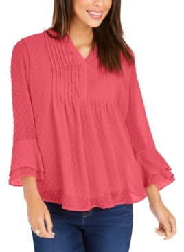 Charter Club Petite Double-Ruffle Textured Pintuck Top, Created for Macy's