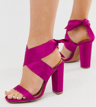 Asos Design DESIGN Wide Fit Wilderness tie leg block heeled sandals in fuschia-Pink